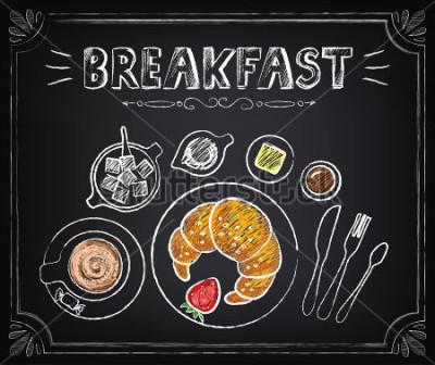 Image Affiche vintage. Petit déjeuner. Croissant et café. Situé au tableau pour un design rétro