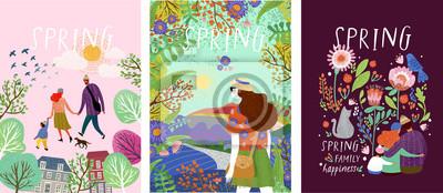 Image affiches mignonnes du printemps, illustrations vectorielles d'une famille heureuse dans la nature, filles contre un paysage et une famille avec un chat entouré de motifs floraux