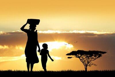 Image Africaine, femme, fils, Coucher soleil