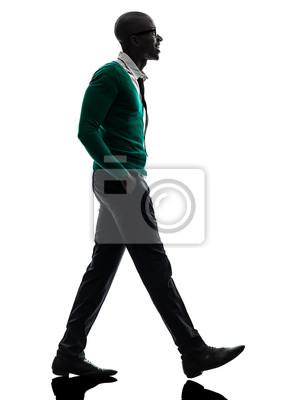 Silhouette homme qui marche peintures murales • tableaux
