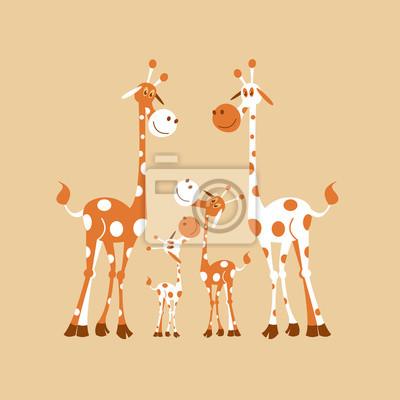 Afrique Clipart Famille De Girafes Maman Girafe Papa Et Bebe Peintures Murales Tableaux 2 Longtemps Cou Myloview Fr