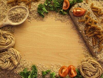Image Alimentation santé de fond, le riz, les pâtes, la salade et les légumes.