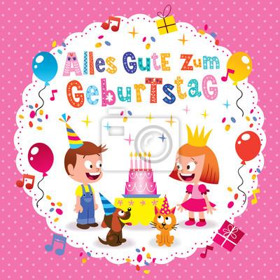 Alles Gute Zum Geburtstag Deutsch Allemand Joyeux Anniversaire Peintures Murales Tableaux Allemand Lettrage Categorie Myloview Fr