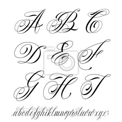 Alphabet De Style De Tatouage Peintures Murales Tableaux Lettre