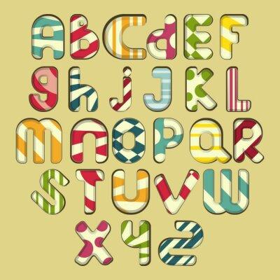 Image alphabet rayé multicolore