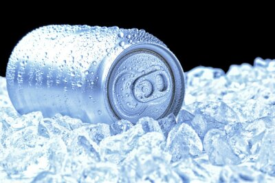 Aluminum Can in Ice with cool tones
