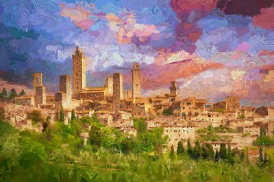 Image Amazing landscape view of San Gimignano is a small walled medieval hill town during colorful evening sunset in summer time, Tuscany, Italy.- oil painting