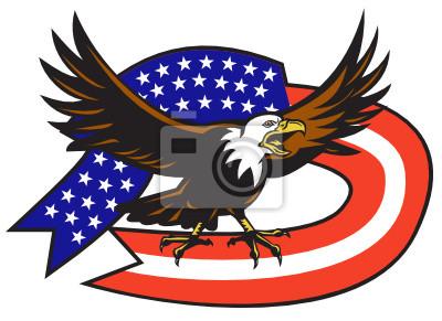 Image American Bald Eagle étoiles volantes et le drapeau rayures