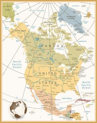 Image Amérique du Nord Carte détaillée Rétro couleurs
