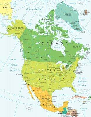 Image Amérique du Nord carte - très détaillées illustration vectorielle.