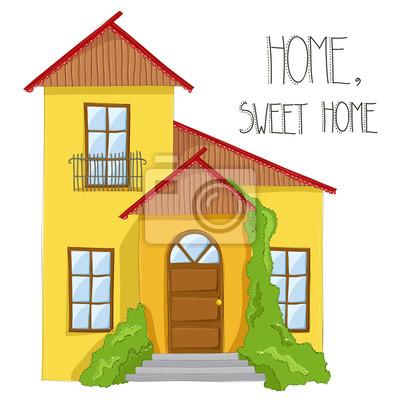 amical dessin jaune de maison pour une famille avec le texte peintures murales tableaux. Black Bedroom Furniture Sets. Home Design Ideas