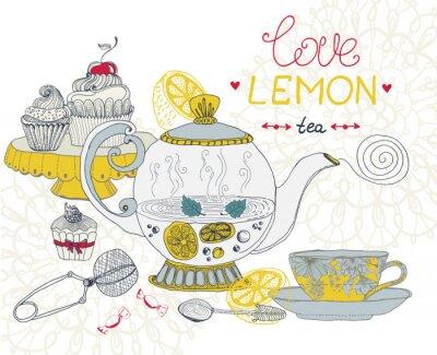 Image amour carte de thé au citron