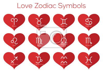 Amour symboles horoscope. Les signes astrologiques du zodiaque. Vecteur