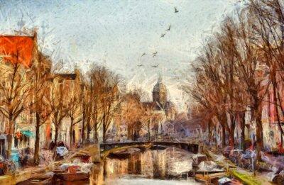 Image Amsterdam, canal, matin, impressionniste, peinture