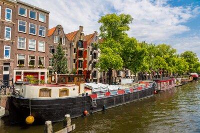 Image Amsterdam canaux et bateaux, Hollande, Pays-Bas.