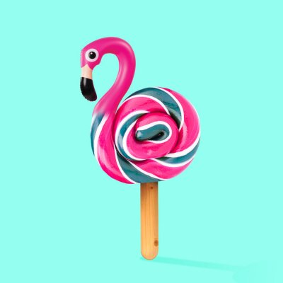 Image An alternative sweets. Candy as a flamingo on the wooden stick on blue background. Negative space to insert your text. Modern design. Contemporary art. Creative conceptual and colorful collage.