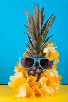 Ananas aux lunettes. Concept de voyage