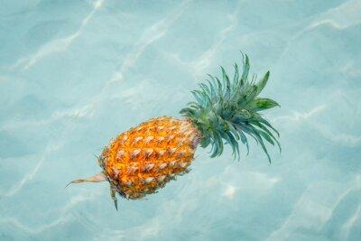 Image Ananas dans l'eau sur la plage ensoleillée
