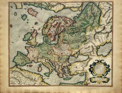 Image Ancienne carte de l'Europe, imprimée en 1587 par Mercator