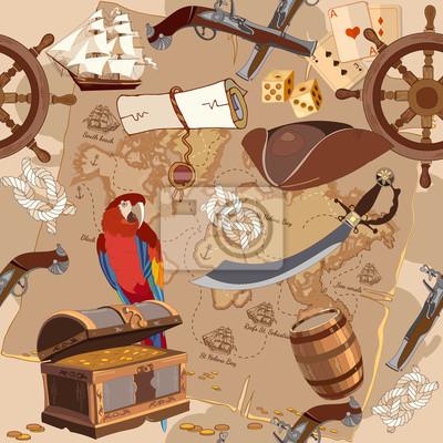 Ancienne Carte Des Tresors Pirates Sans Couture Les Histoires Peintures Murales Tableaux Chasse Au Tresor Navire Pirate Carte Au Tresor Myloview Fr