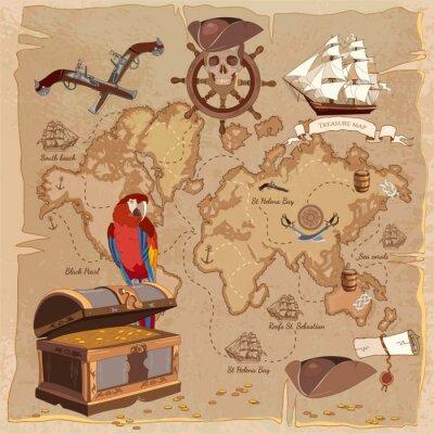 Carte Au Tresor Pirate.Image Ancienne Carte Du Tresor Pirate Coffre A Bagages