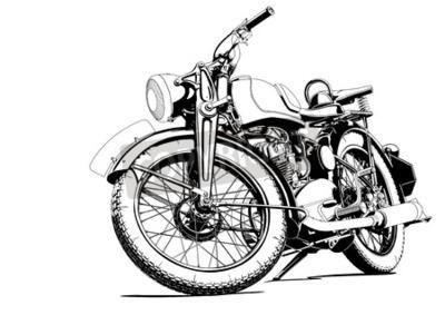 Image Ancienne illustration de moto
