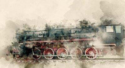 Image Anciennes locomotives à vapeur du 20ème siècle. Aquarelle