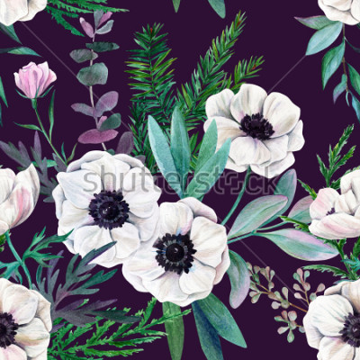 Image Anémones blanches et feuilles sur fond violet. Modèle sans couture aquarelle, couleur, illustration dessinée à la main.