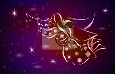 Ange de Noël dans le ciel nocturne parmi les étoiles brillantes