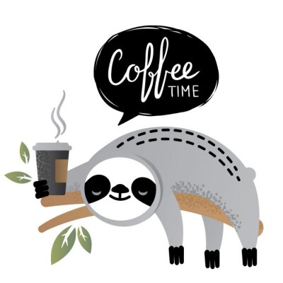 Image Animal ours paresseux vecteur mignon avec le lettrage de l'heure du café.