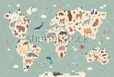 Image Animals on world map illustrations  hand drawn vector set