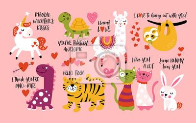 Image Animaux mignons de la Saint-Valentin sertis de lama, paresse, licorne, chats, dinosaures, lapin, tigre et tortue.