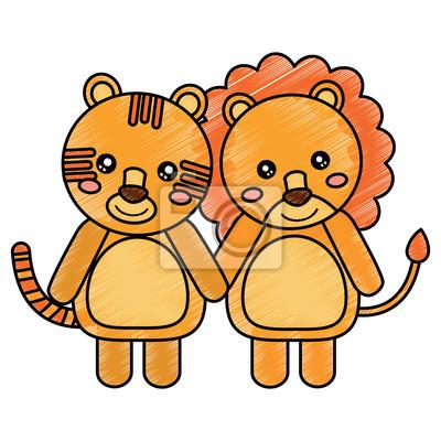 Animaux Mignons Lion Et Tigre Bébés Vector Illustration Dessin