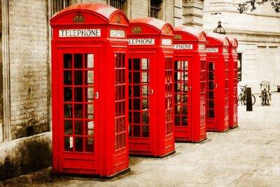 Image antik texturiertes Bild roter Telefonzellen à Londres