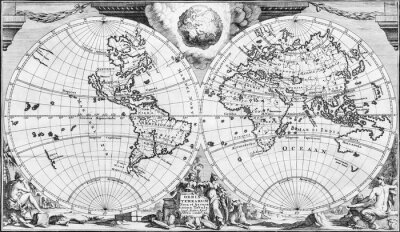 Image Antique world map of the 18th century, in black and white