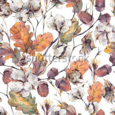 Image Aquarelle automne fond vintage avec des brindilles, des fleurs de coton, des feuilles de chêne jaune et des glandes. Aquarelle botanique