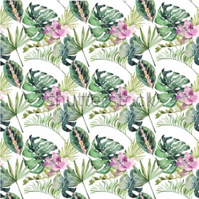Image Aquarelle avec fleurs tropicales et feuilles vertes pour invitations de mariage, vacances, cartes de vœux, affiches, livres, enveloppes, album photo. Illustration sur fond isolé
