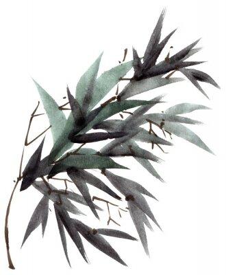 Image Aquarelle branche de feuilles de bambou