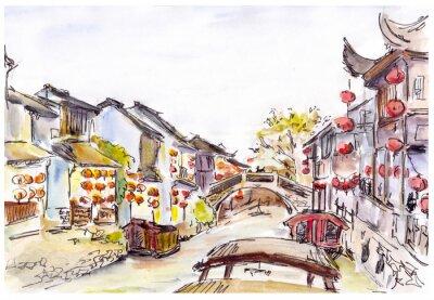 Image Aquarelle - Canal de l'eau dans la vieille ville en Chine. Lanternes rouges.