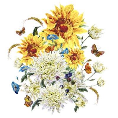 Image Aquarelle carte vintage avec les chrysanthèmes, les tournesols et les fesses