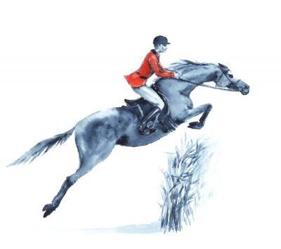 Image Aquarelle cavalier et le cheval, sauter un obstacle dans la forêt sur blanc. Cavalier, rouge, veste, Sauter, steeplechase, concurrence Angleterre sport équestre. Dessin à la main illustration.
