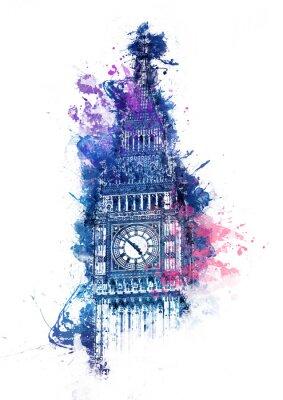 Image Aquarelle colorée de Big Ben