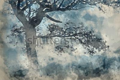 Image Aquarelle de Beau paysage de campagne autour de Cummock Eau en automne le matin brumeux