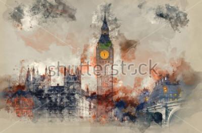 Image Aquarelle de Big Ben et les chambres du Parlement au coucher du soleil en hiver.