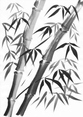 Image Aquarelle de deux tiges de bambou peintes avec des traits grunge. Gouache noire sur étude de papier blanc.