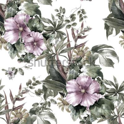 Image Aquarelle de feuilles et de fleurs, modèle sans couture sur fond blanc