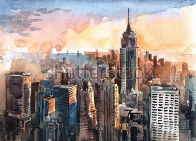Image Aquarelle de gratte-ciel de Manhattan au coucher du soleil - Circuits de la ville de New York