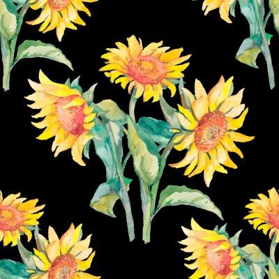 Image Aquarelle de motif de tournesols.