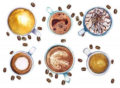 Image Aquarelle des tasses de café, isolé sur fond blanc avec des grains de café, vue de dessus.