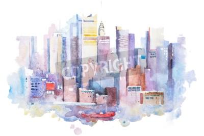 Image Aquarelle, dessin, New, York, Cityscape, USA. Aquarelle de Manhattan.